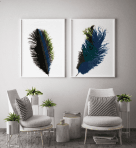 decorative feather printable artwork, interior design